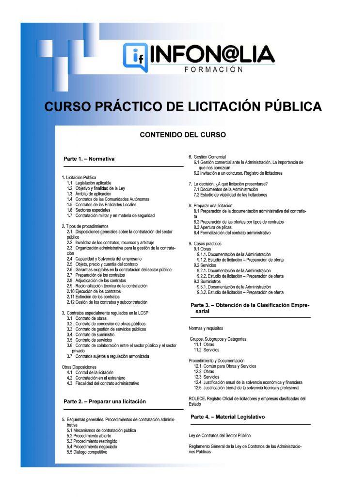 Contenido del Curso Práctico de Licitación Pública.